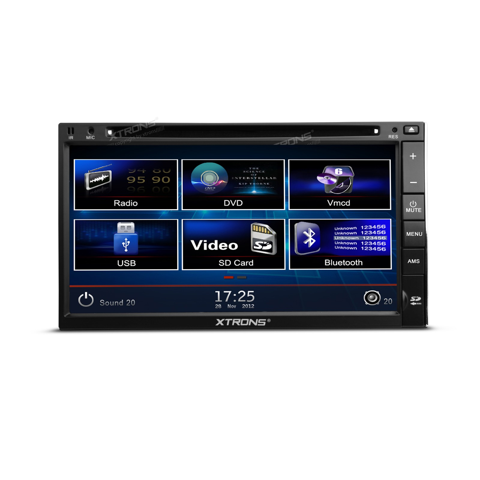"""6.95""""HD Digital TFT Touch Screen SWC Bluetooth iPod Double Din DVD Player"""
