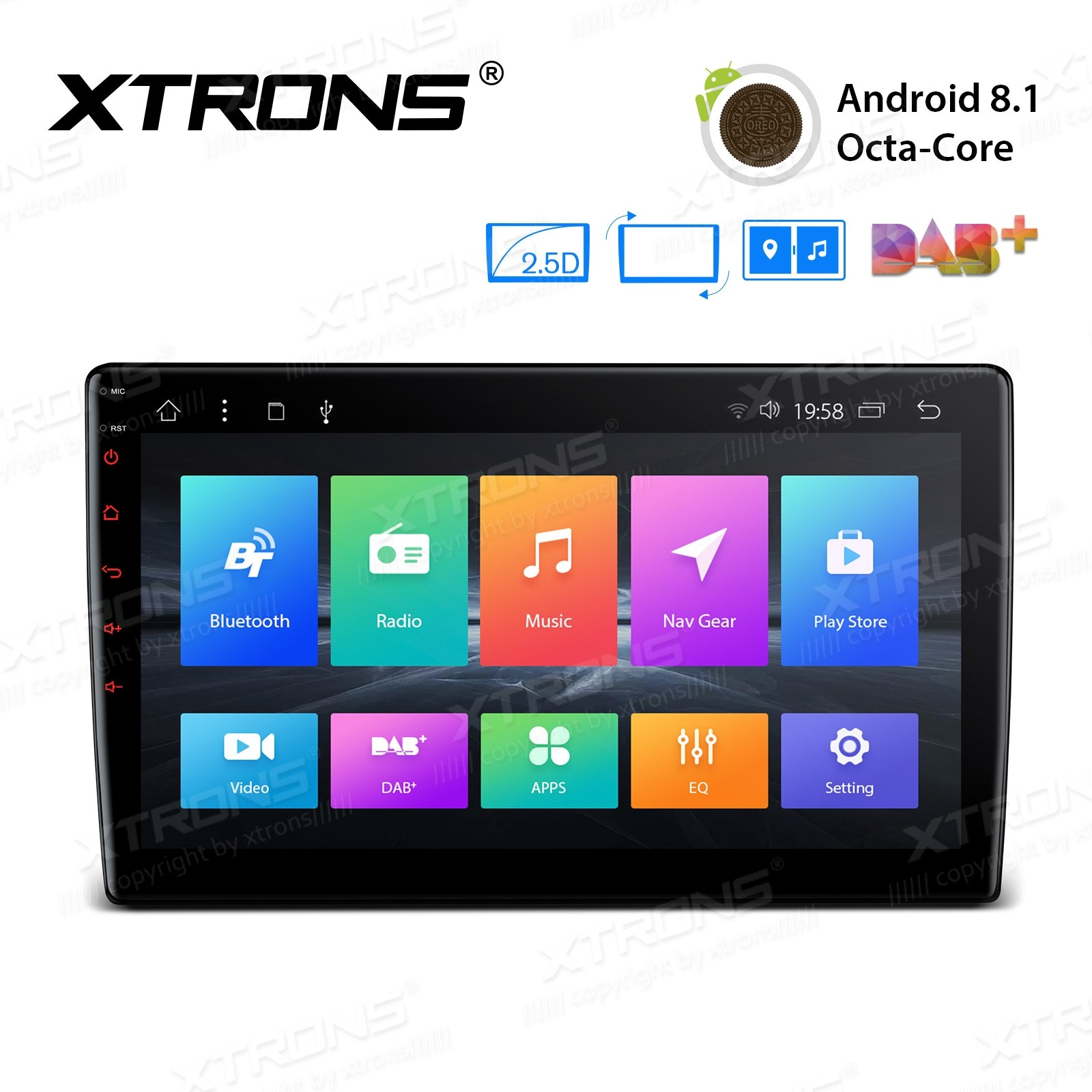 """10.1"""" Android 8.1 Octa-Core 32GB ROM + 2GB DDR3 RAM Rotatable Face Panel 2.5D Curved Screen Car Stereo"""