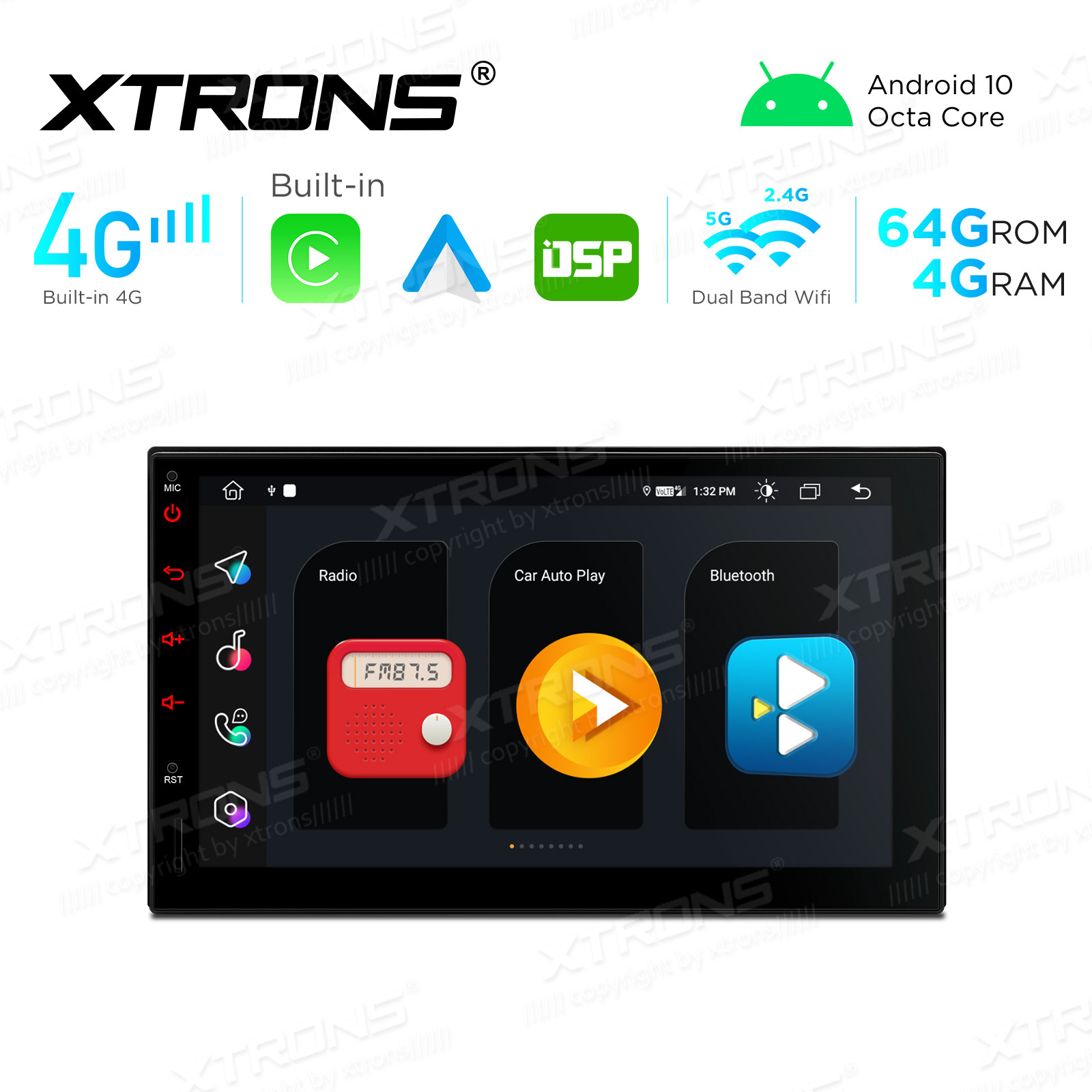 Integrated 4G Solution: 7 inch Octa-Core DDR4 4GB RAM + 64GB ROM Android Multimedia Player Navigation System With Built-in CarAutoPlay and Android Auto and DSP