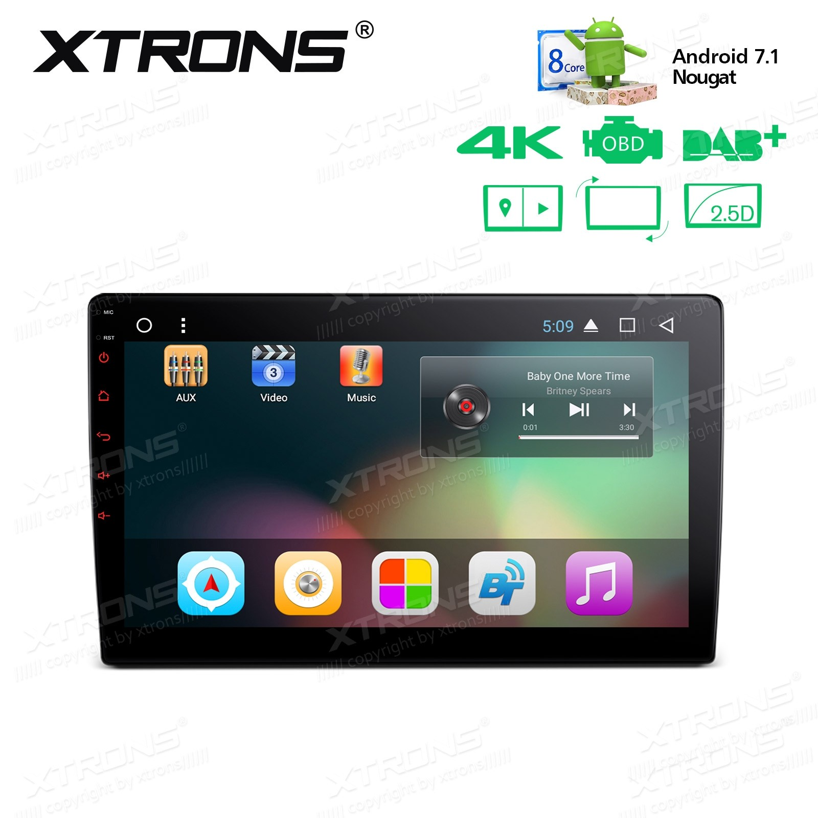 """10.1"""" Android 7.1 Nougat 32GB ROM + 2GB DDR3 RAM Octa-Core Rotatable Face Panel 2.5D Curved Screen Car Stereo"""