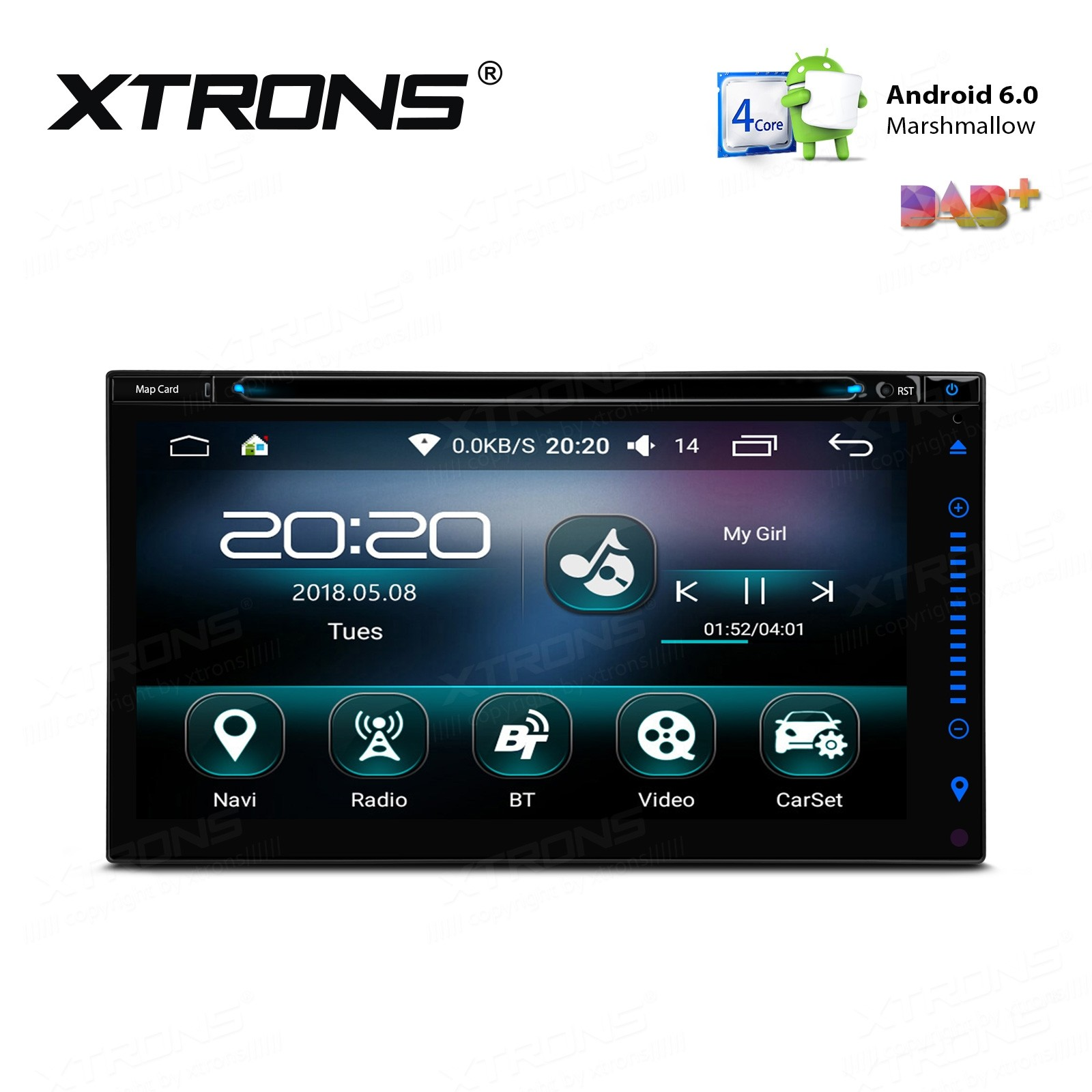 """6.95"""" Android 6.0 Marshmallow Quad Core 16G ROM HD Digital Touch Screen Car Multimedia Player"""