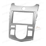 Double Din Silver Fascia Facia Adaptor Panel Surround for KIA Series with AUTO Air-Conditioning
