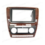 Double Din Car Stereo Wooden Fascia Panel for SKODA Octavia with Auto Air-Conditioning