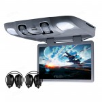 "15.6"" HD Digital Wide Screen Car Roof DVD Player with 1366*768 Resolution/170 Max Open Angle/Built-in IR & FM/32-Bit Games &  2 Headphones"