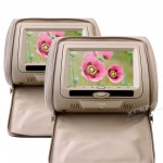 "HD705-Beige - 2x7"" headrest DVD player with digital screen/ IR/ FM Transmitter *zip cover*"