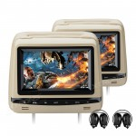 """2x7"""" Touch Button HD Digital Screen Car Headrest DVD Players with Adjustable Viewing Angles with 2pcs headphones and Zipper Cover"""