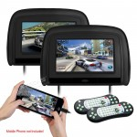 "2 x 9"" HD TFT 1080P Video  Car Headrest DVD Players with HDMI Input"