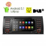 """7""""Android 5.1 Lollipop 64-bit Operating System Quad Core Car DVD Player With Screen Mirroring Function & TPMS Function & OBD2 for BMW E53/X5/E39"""