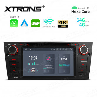 7 inch Android Hexa-Core 64bit Processor 4G RAM + 64GB ROM Car DVD Player Navigation System with Built-in Carplay and Android Auto and DSP Custom Fit for BMW