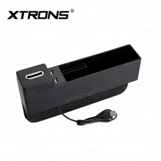 Universal Car Storage Box with Dual USB Ports and Removable Coin Holder