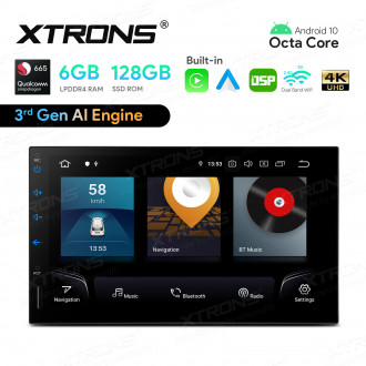 7 inch Qualcomm Snapdragon 665 AI Solution Android 10.0 Octa Core 6GB RAM + 128GB ROM Car Stereo Navigation System (4G LTE*) Universal Double Din