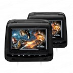 """2x7"""" Touch Panel Leather Cover  HD Digital Screen Car Headrest DVD Players with Adjustable Viewing Angles"""