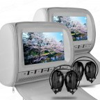 """2 X 9"""" In Car Headrest DVD Players with Zipper Cover with 2 headphones"""