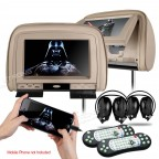 Headrest DVD Players with HDMI Input and 2 headphones