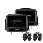 "2x9""  Digital  Screen Button In  Car Headrest DVD Player with HDMI input and Zipper Cover 2 pcs Headphone"