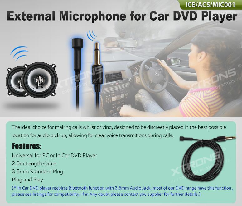 Microfono esterno Autoradio Universale xtrons Mini 3.5mm Vivavoce mic001 2 metri
